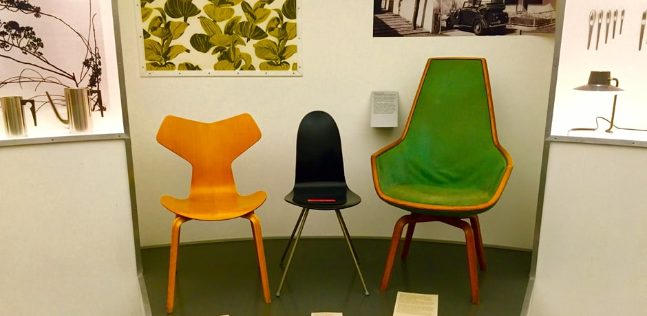 Admiring the chairs at the Designmuseum Danmark, which is housed in a 17th-century hospital and features a permanent collection on 20th-century Danish design
