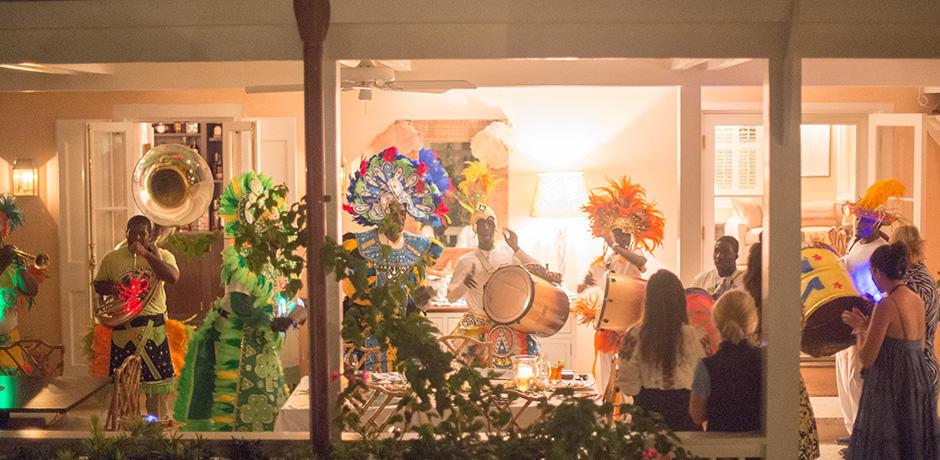 A traditional Bahamian Junkanoo parade at the Bahama House (photo credit Alex Fenlon)