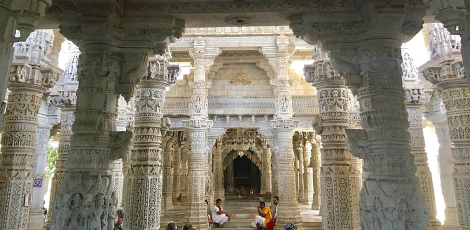 The renowned Jain temple at Ranakpur contains over 1,444 marble pillars