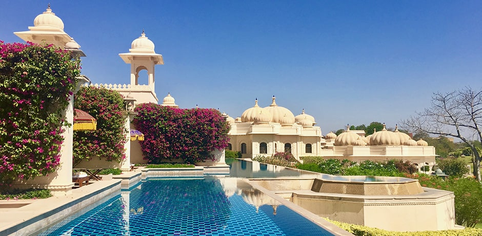 The stunning Oberoi Udaivilas in Udaipur is set on thirty acres of wildlife conservancy overlooking Lake Pichola