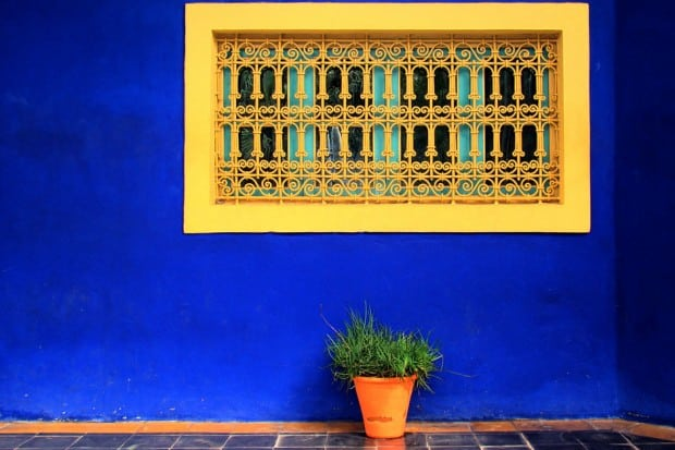 Blue wall and yellow window at the Jardin Majorelle in Marrakech