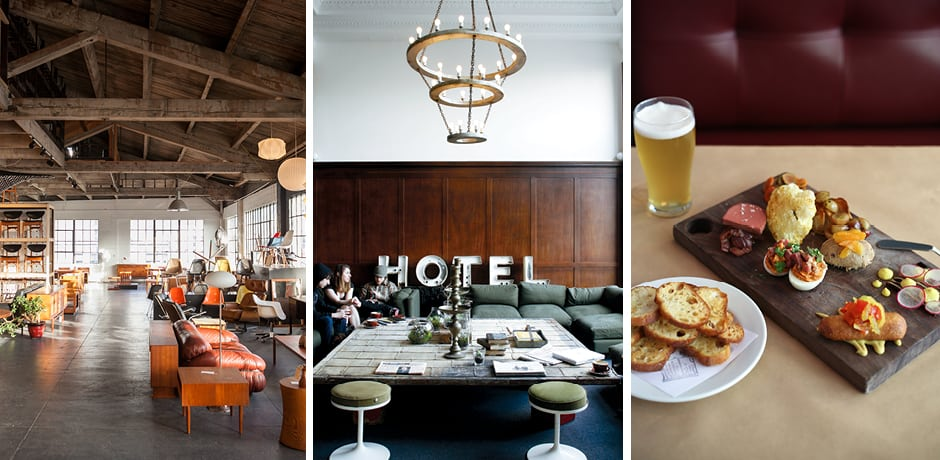 From left: The Good Mod, the Ace Hotel Portland, Little Bird (courtesy Carly Diaz)