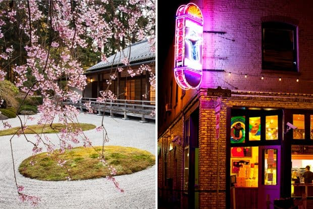 From left: Portland Japanese Garden (courtesy Jonathan Ley), Voodoo Doughnut