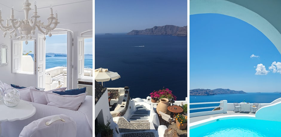 From left: Canaves Suites, a Oia scenic, Kirini