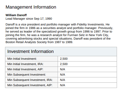 Mutual fund investment information