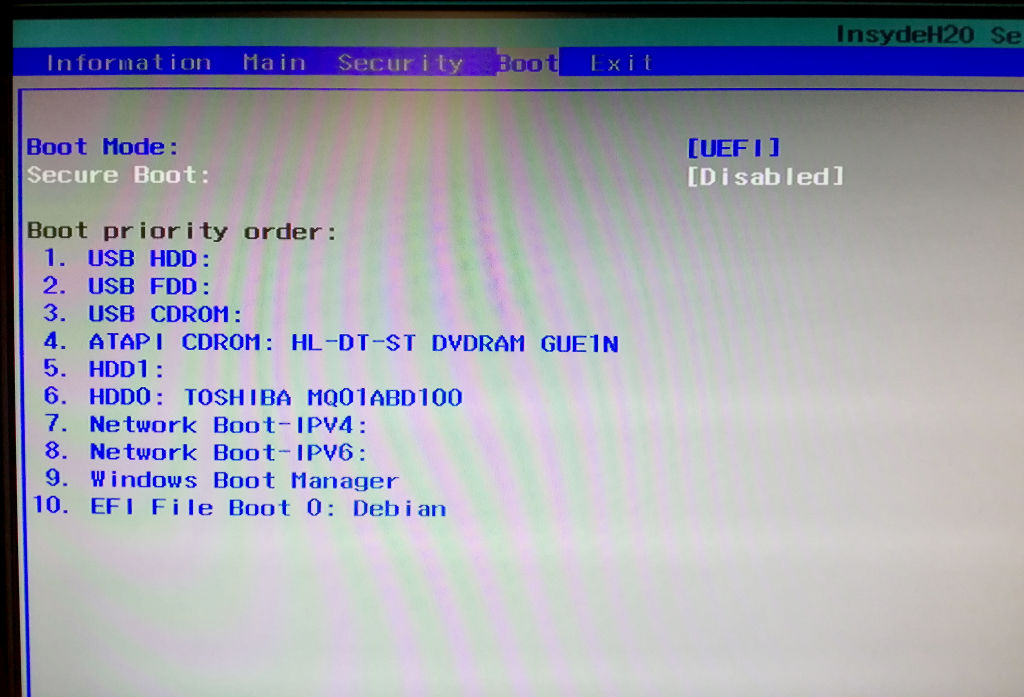 Acer Aspire E15 UEFI secure boot