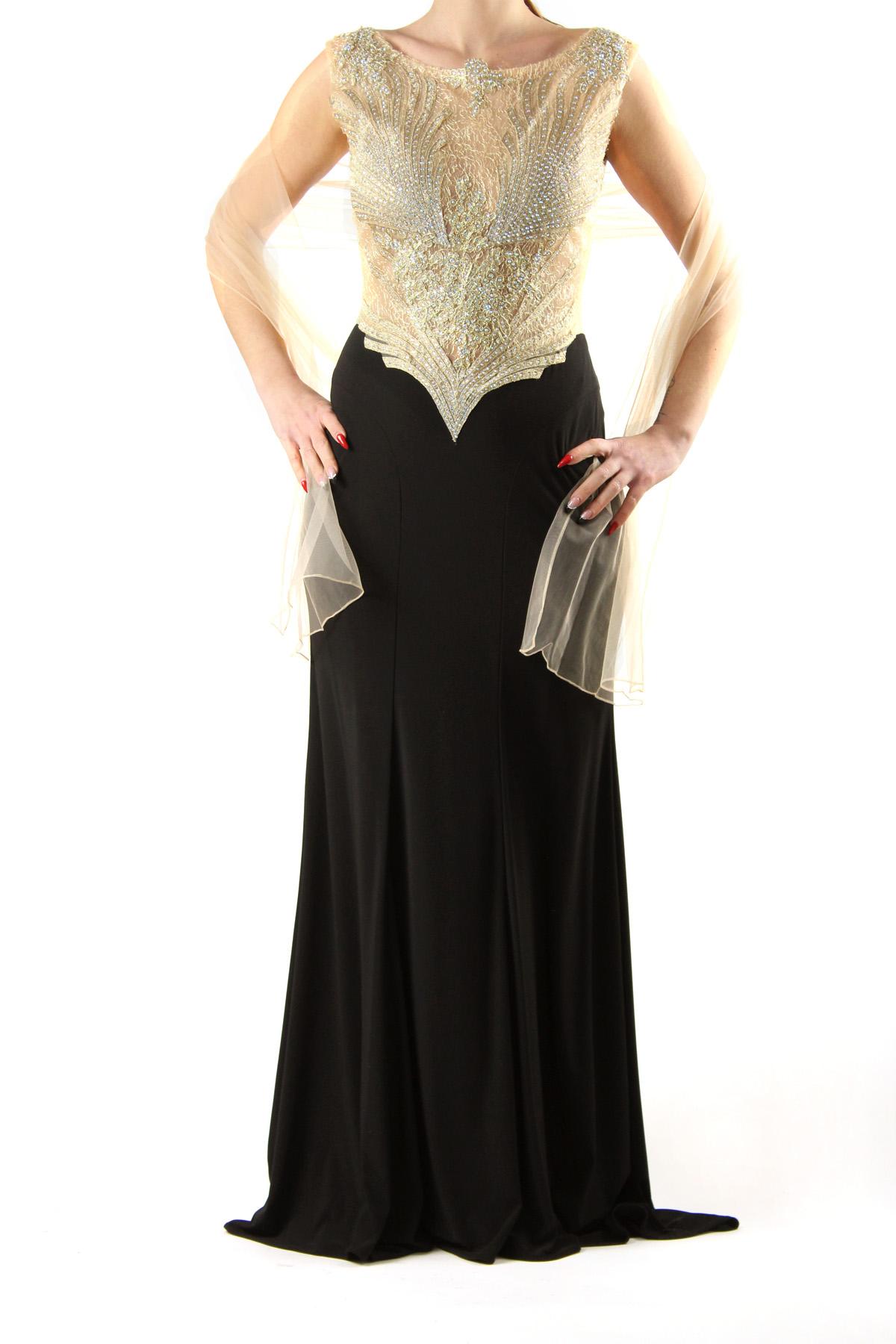 big sale 23da1 80c4d Abito a sirena cerimonia nero e oro by Belen haute couture