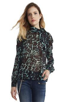 Blusa in georgette con stampa animalier ALMAGORES | 6 | 45013UN
