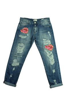 Jeans with cracks and roses FRACOMINA | 24 | FR16SMBONNIE2UN