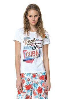 T-shirt stampa Cuba FRACOMINA | 7 | FR18SM318BI