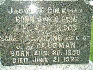 COLEMAN, SARAH CAROLINE - Adams County, Iowa | SARAH CAROLINE COLEMAN