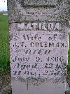 COLEMAN, MATILDA - Adams County, Iowa | MATILDA COLEMAN