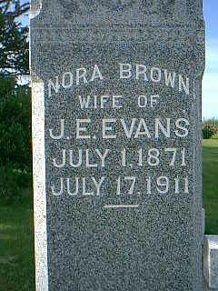 BROWN EVANS, NORA - Adams County, Iowa   NORA BROWN EVANS