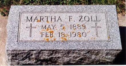 ZOLL, MARTHA F - Allamakee County, Iowa   MARTHA F ZOLL