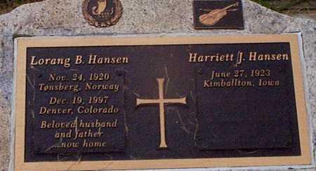 HANSEN, HARRIETT J - Audubon County, Iowa | HARRIETT J HANSEN