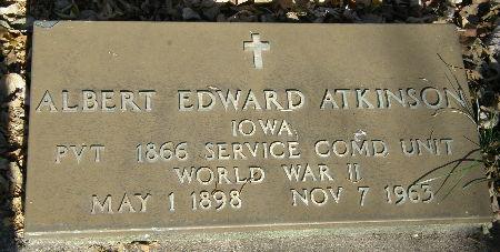ATKINSON, ALBERT EDWARD - Black Hawk County, Iowa | ALBERT EDWARD ATKINSON