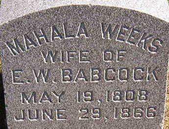 WEEKS BABCOCK, MAHALA - Black Hawk County, Iowa | MAHALA WEEKS BABCOCK