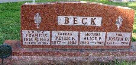 BECK, ALICE F. - Black Hawk County, Iowa | ALICE F. BECK