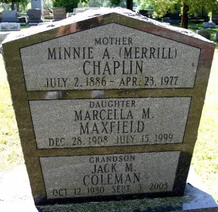 MERRILL CHAPLIN, MINNIE A. - Black Hawk County, Iowa | MINNIE A. MERRILL CHAPLIN