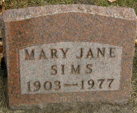 SIMS, MARY JANE - Black Hawk County, Iowa   MARY JANE SIMS