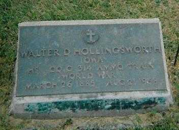 HOLLINGSWORTH, WALTER D. - Boone County, Iowa   WALTER D. HOLLINGSWORTH