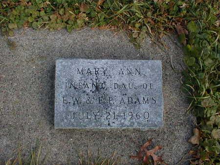 ADAMS, MARY ANN - Bremer County, Iowa   MARY ANN ADAMS