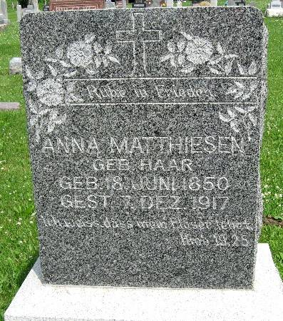 HAAR MATTHIESEN, ANNA - Bremer County, Iowa   ANNA HAAR MATTHIESEN