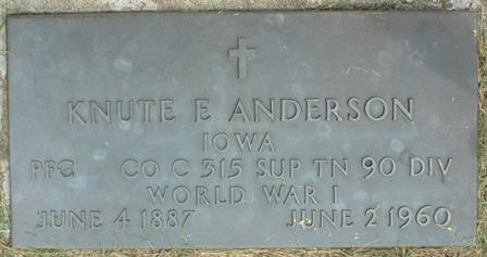 ANDERSON, KNUTE E. - Buena Vista County, Iowa   KNUTE E. ANDERSON