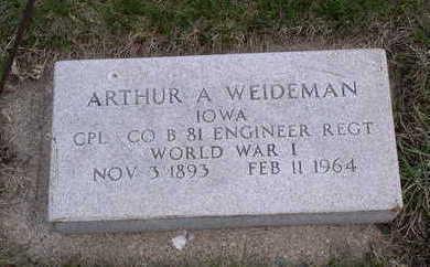 WEIDMAN, ARTHUR ALBERT - Calhoun County, Iowa   ARTHUR ALBERT WEIDMAN