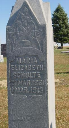 SCHULTE, MARIA ELIZABETH - Carroll County, Iowa   MARIA ELIZABETH SCHULTE