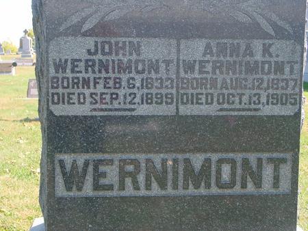 WERNIMONT, JOHN & ANNA K. - Carroll County, Iowa | JOHN & ANNA K. WERNIMONT