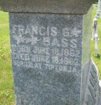BASS, FRANCIS - Cedar County, Iowa   FRANCIS BASS