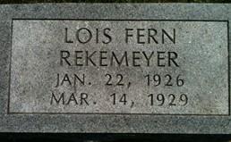 REKEMEYER, LOIS FERN - Cedar County, Iowa | LOIS FERN REKEMEYER