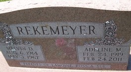 RISSEN REKEMEYER, ADELINE MARY - Cedar County, Iowa | ADELINE MARY RISSEN REKEMEYER