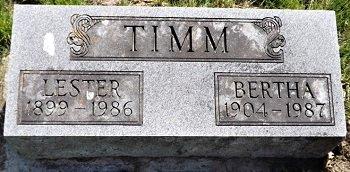 TIMM, BERTHA - Cedar County, Iowa | BERTHA TIMM
