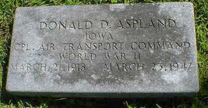 ASPLAND, DONALD D. - Cerro Gordo County, Iowa   DONALD D. ASPLAND