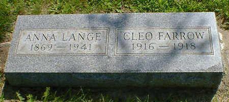 LANGE, ANNA - Cerro Gordo County, Iowa   ANNA LANGE