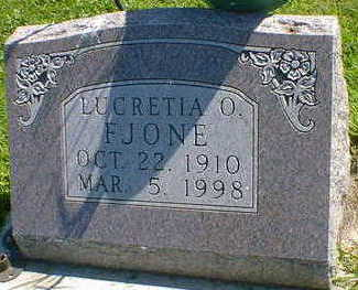 FJONE, LUCRETIA O. - Cerro Gordo County, Iowa   LUCRETIA O. FJONE