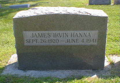 HANNA, JAMES IRVIN - Cerro Gordo County, Iowa   JAMES IRVIN HANNA