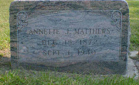 MATTHEWS, ANNETTE J. - Cerro Gordo County, Iowa   ANNETTE J. MATTHEWS