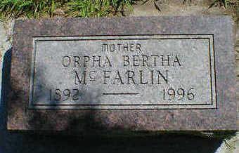MCFARLIN, ORPHA BERTHA - Cerro Gordo County, Iowa   ORPHA BERTHA MCFARLIN