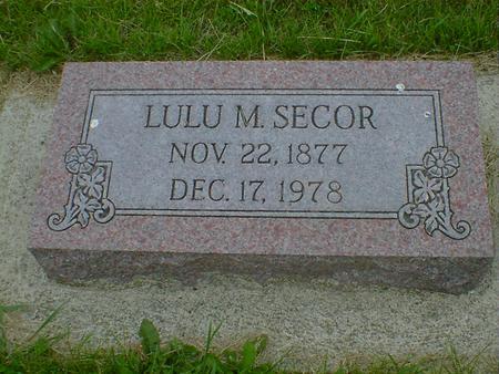 SECOR, LULU M. - Cerro Gordo County, Iowa   LULU M. SECOR