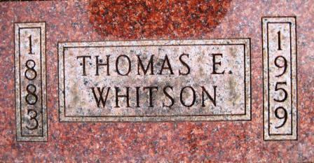 WHITSON, THOMAS E. - Cerro Gordo County, Iowa   THOMAS E. WHITSON