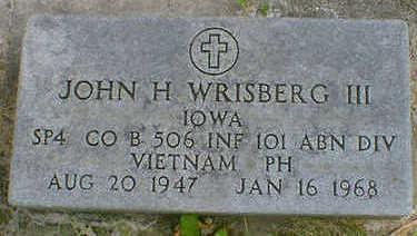 WRISBERG, JOHN H. III - Cerro Gordo County, Iowa   JOHN H. III WRISBERG