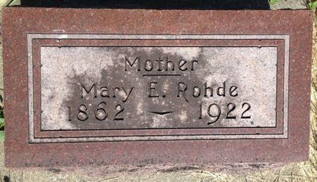 ROHDE, MARY E. - Cherokee County, Iowa   MARY E. ROHDE