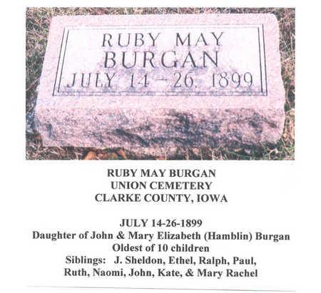 BURGAN, RUBY MAY - Clarke County, Iowa   RUBY MAY BURGAN