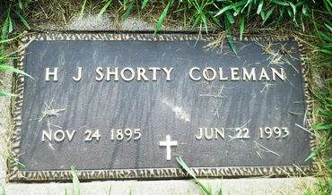 COLEMAN, H. J. SHORTY - Clay County, Iowa | H. J. SHORTY COLEMAN