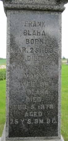 BLAHA, MARY - Clayton County, Iowa   MARY BLAHA