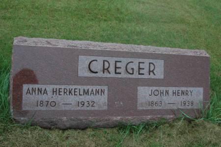 HERKELMANN CREGER, ANNA - Clinton County, Iowa   ANNA HERKELMANN CREGER
