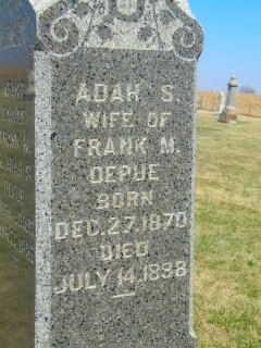 UNKNOWN DEPUE, ADAH S - Clinton County, Iowa | ADAH S UNKNOWN DEPUE